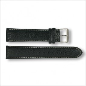 Leather strap - Shark - black with white stitching - 20mm