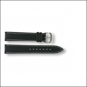Leather strap - pattern - black - 18mm