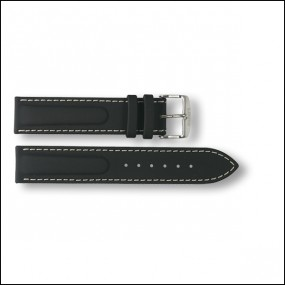 Rubber / Leather strap - black - 20mm