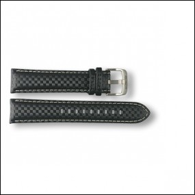 Carbon leather strap - black - 20mm