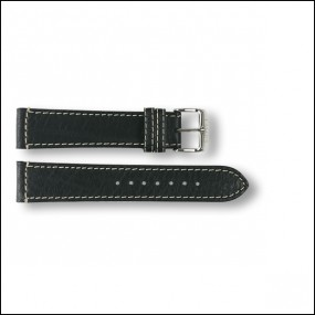 Leather strap - pattern - black - 20mm
