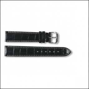 Leather strap - Croco-Design - black with white stitching - 18mm