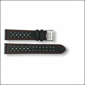 Leather strap - pattern - black with red stitches - 20mm