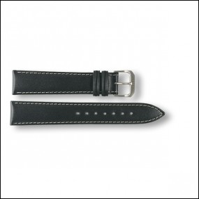 Leather strap - plain - black - 18mm