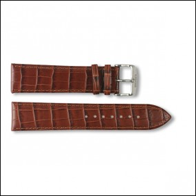 Leather strap - Croco-Design - brown - 22m