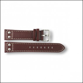 Leather strap - plain - brown - 20mm