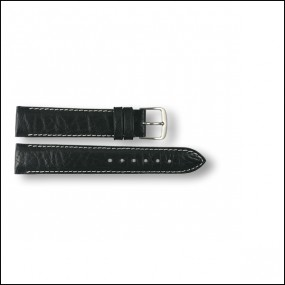Leather strap - pattern - black with white stitching - 18mm