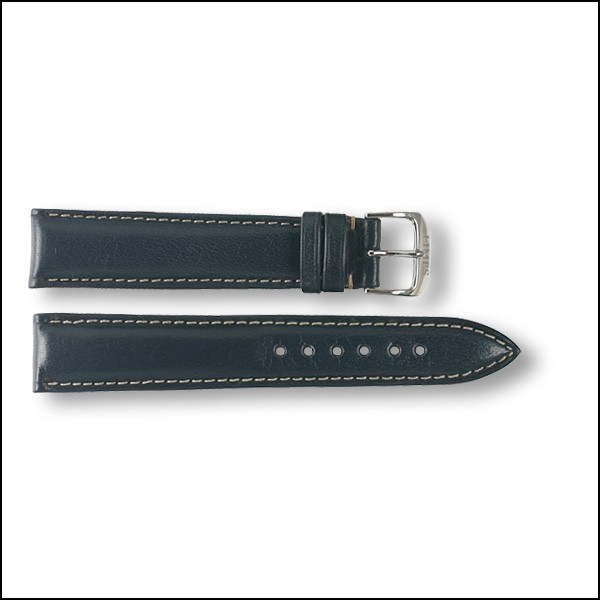 Leather strap - plain - blue - 18mm