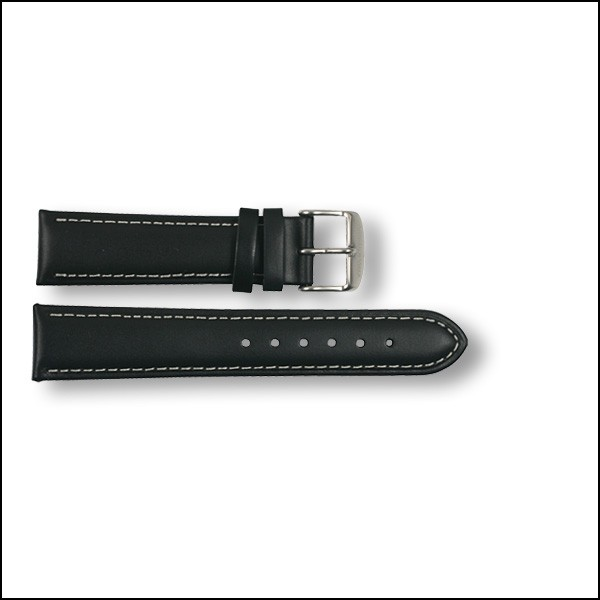 Leather strap - plain - black - 20mm