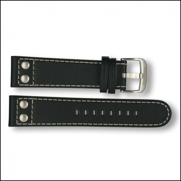Leather strap - Pilot - black - 22mm