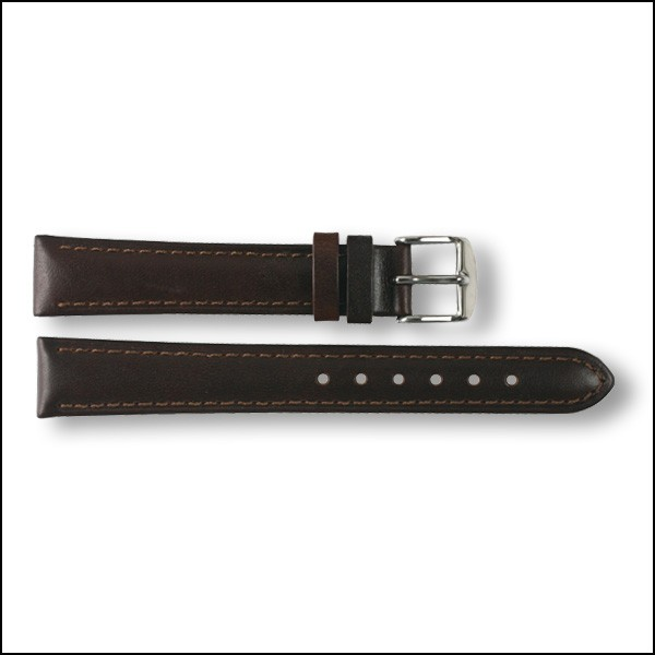 Leather strap - plain - brown - 16mm