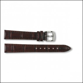 Leather strap - Croco-Design - brown - 14mm