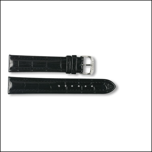 Leather strap - Croco-Design - black - 18mm