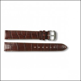 Leather strap - Croco-Design - brown - 16mm - XXL