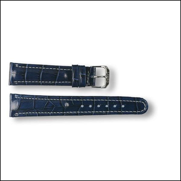 Leather strap - Croco-Design - blue with white stitching - 20mm
