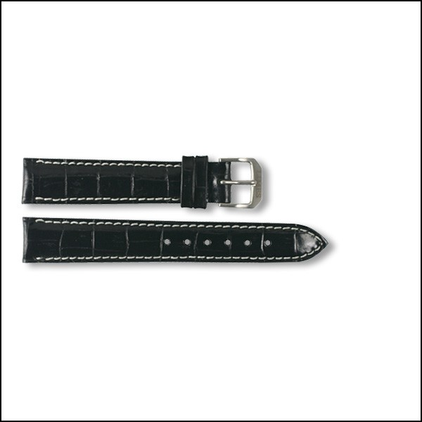 Leather strap - Croco-Design - black - 16mm - XXL