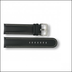 Rubber / Leather strap - black - 22mm