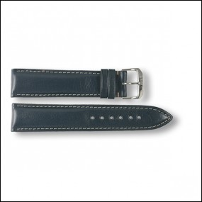 Leather strap - plain - blue - 20mm