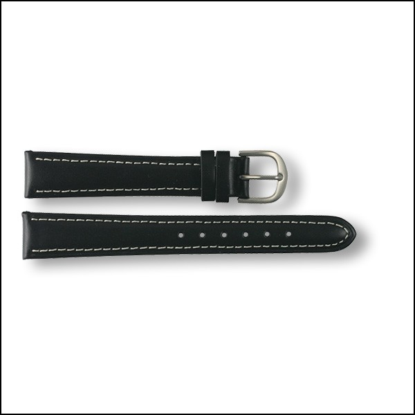 Leather strap - plain - black - 14mm