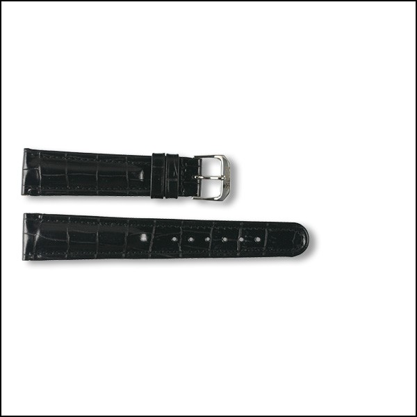 Leather strap - Croco-Design - black - 18mm - XXL