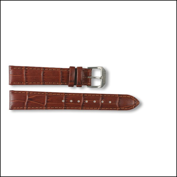 Leather strap - Croco-Design - brown - 16mm