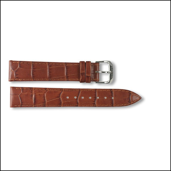 Leather strap - Croco-Design - brown - 18mm