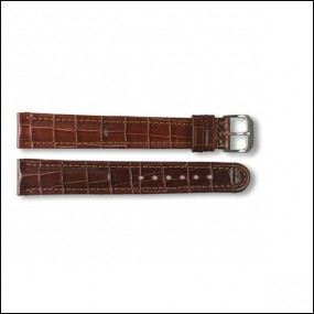 Leather strap - Croco-Design - brown - 18mm - XXL