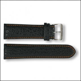 Leather strap - Shark - black with orange stitching - 20mm