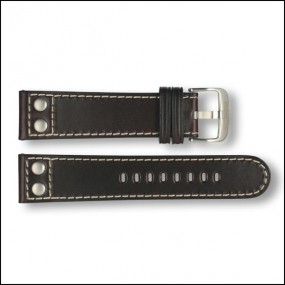 Leather strap - Pilot - dark brown - 22mm