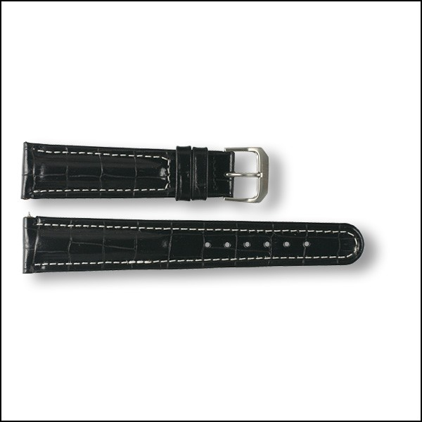 Leather strap - Croco-Design - black with white stitching- 20mm