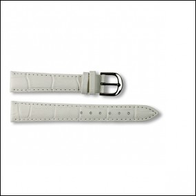 Leather strap - Croco-Design - white - 14mm