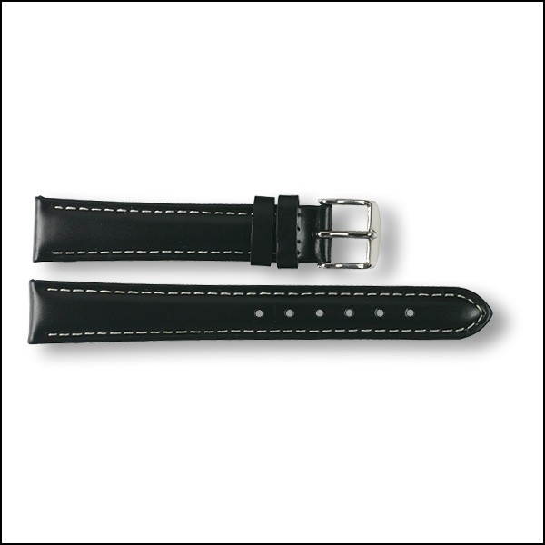 Leather strap - plain - black - 16mm