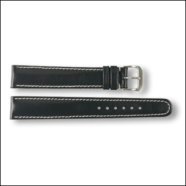 Leather strap - plain - black - 18mm - XXL