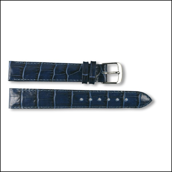 Leather strap - Croco-Design - blue - 16mm