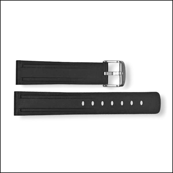 Rubber strap - black - 20mm