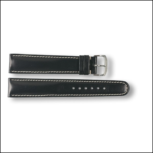 Leather strap - plain - black - 20mm - XXL
