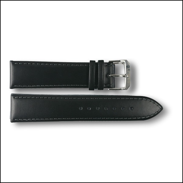 Leather strap - plain - black - 22mm