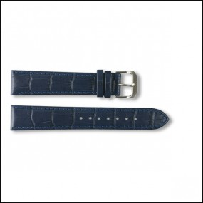 Leather strap - Croco-Design - blue - 18mm