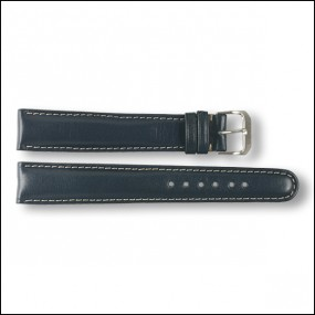 Leather strap - plain - blue - 18mm - XXL