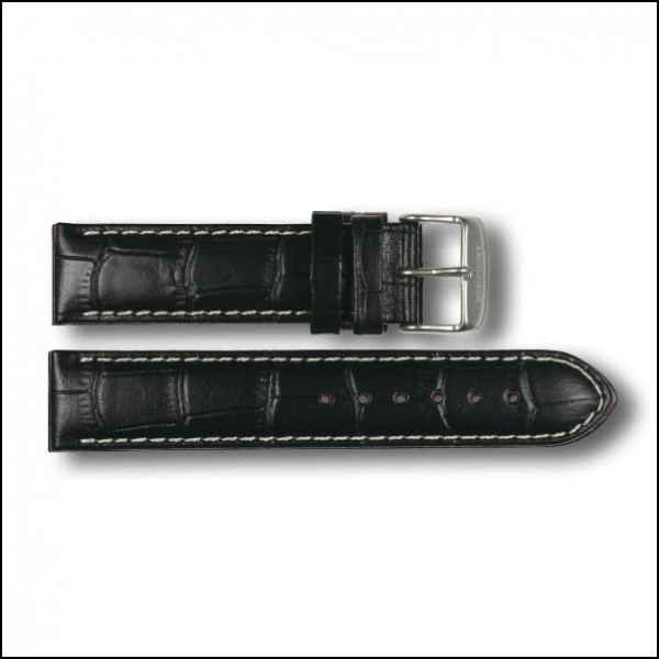 Leather strap - Croco-Design - black - 20mm
