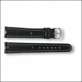 Leather strap - Croco-Design -black - 20mm - XXL